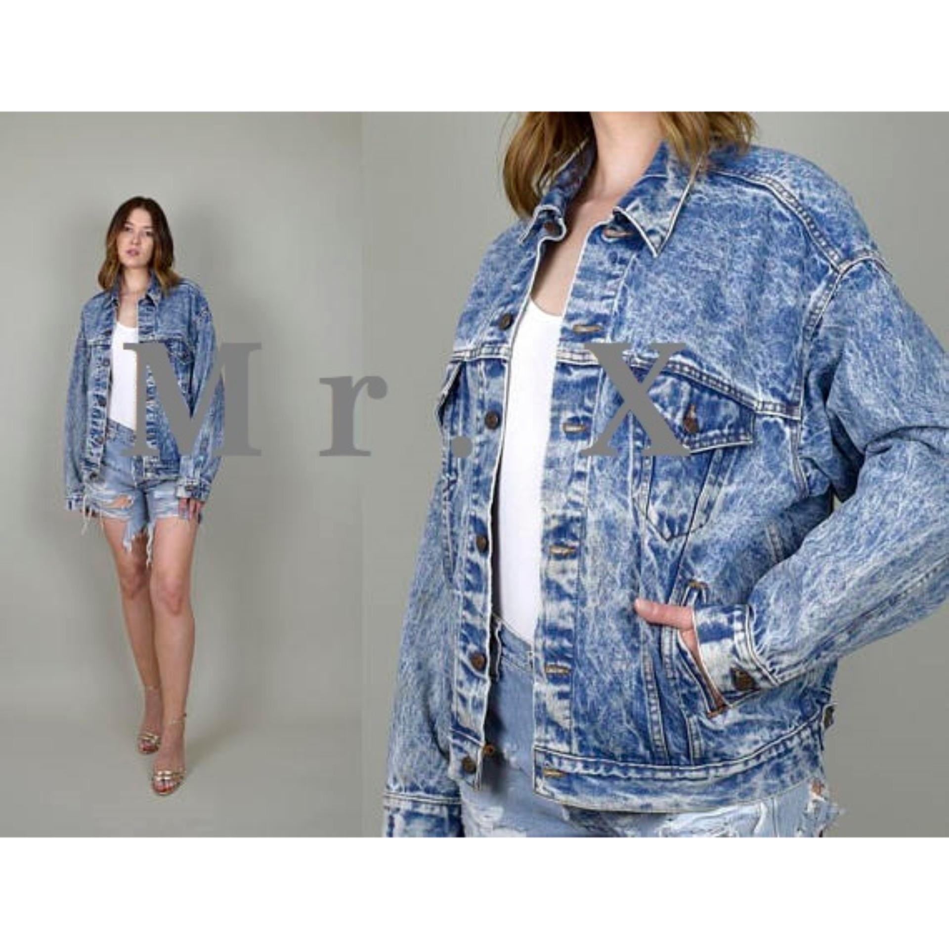 Jual Jaket Jeans Denim Oversize Wanita Blue Acidwash Biru Serpihan Putih Premium Quality By Mr X Import