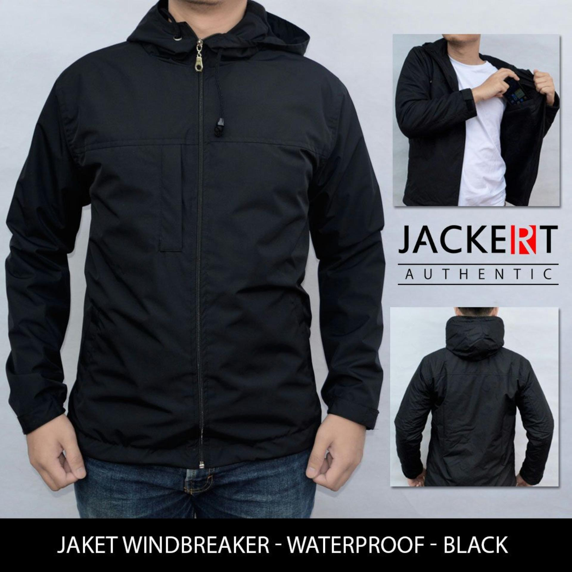 Jaket Motor Harian Model Simple Polos Hitam Waterproof Semi Outdoor Jackert Diskon 40