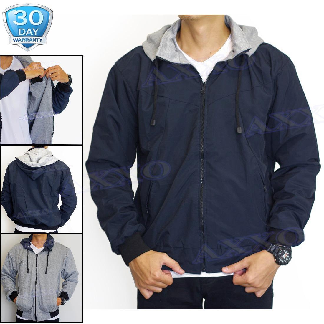 Harga Jaket Parasut Fleece 2In1 Bolak Balik Jaket Pria Biru Navy Ax002 Asli Jaket Pria