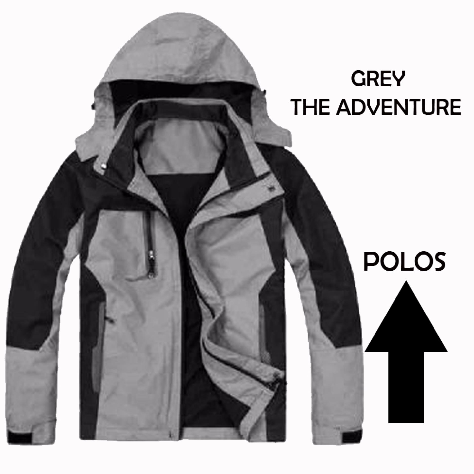 Jual Jaket Parasut Waterproof The Adventure Grey Polos Murah Indonesia
