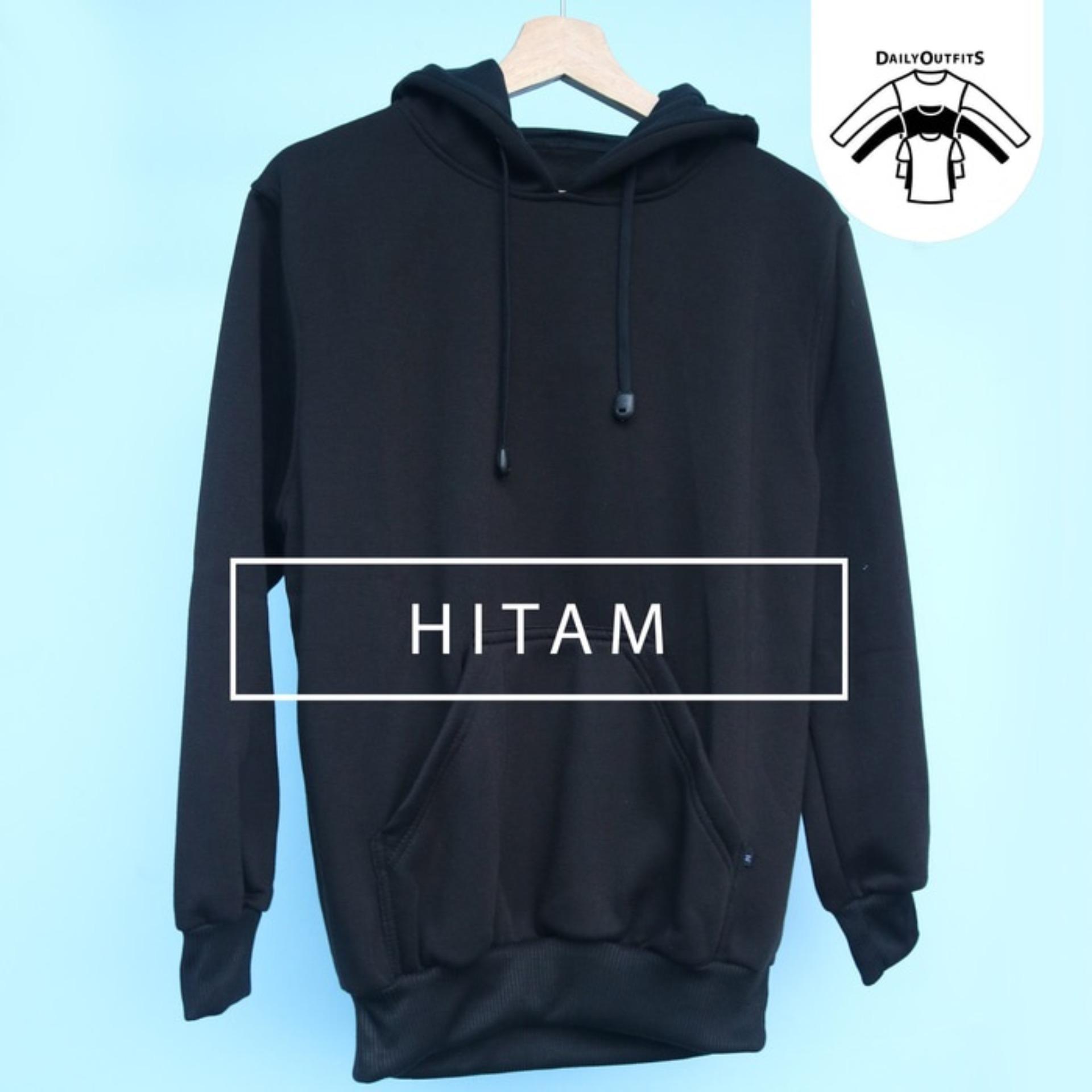 Jaket Sweater Polos Hodie Jumper Hitam - Premium Quality