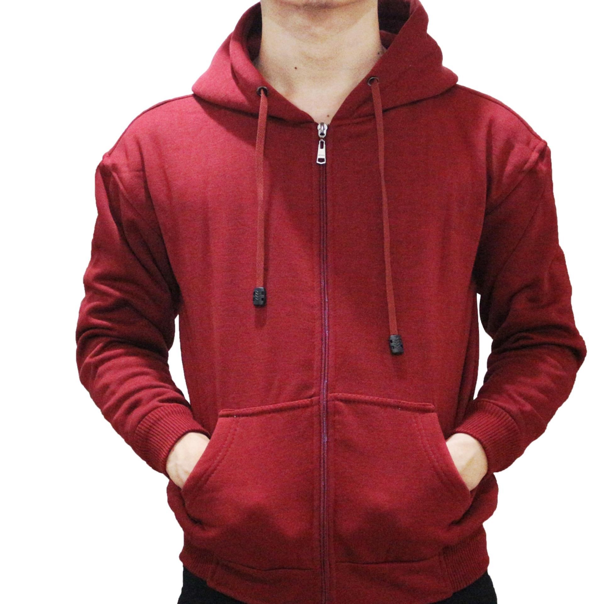 Beli Jaket Sweater Polos Hoodie Zipper Merah Maroon Baru