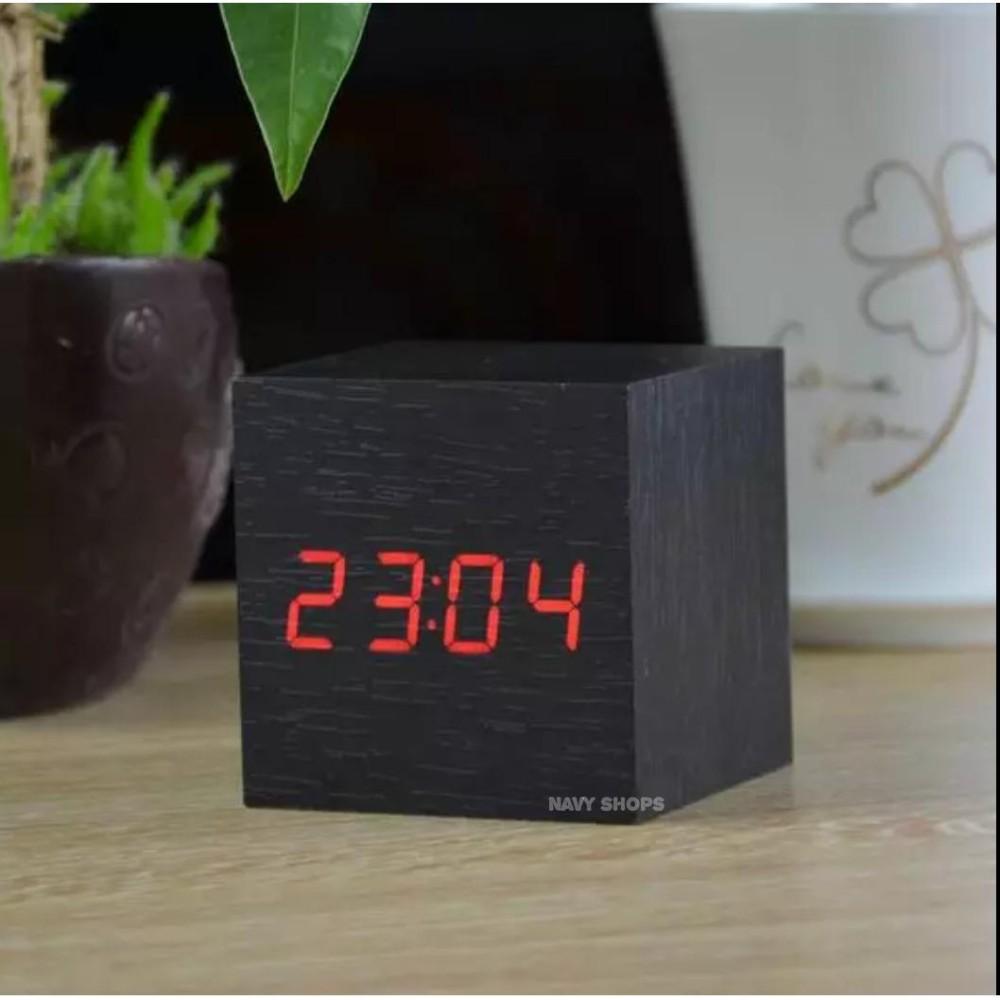 Jam LED dan pengukur suhu - Jam Weker - Jam LED Meja - LED WOOD CLOCK