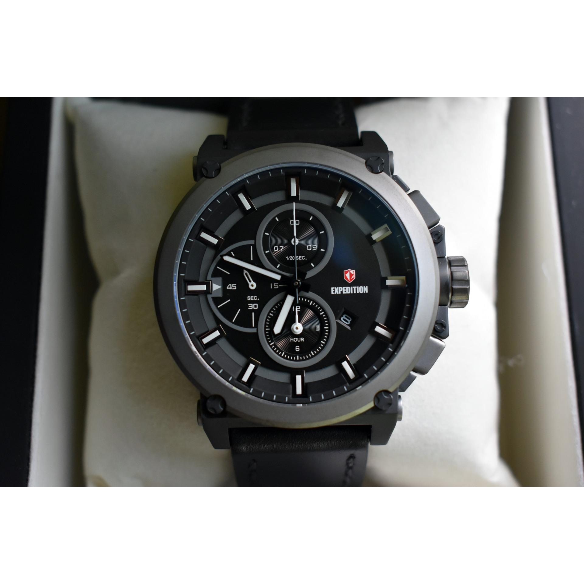 Jam Tangan Expedition Cowok Pria E 6612 M E6612 Full Black Original