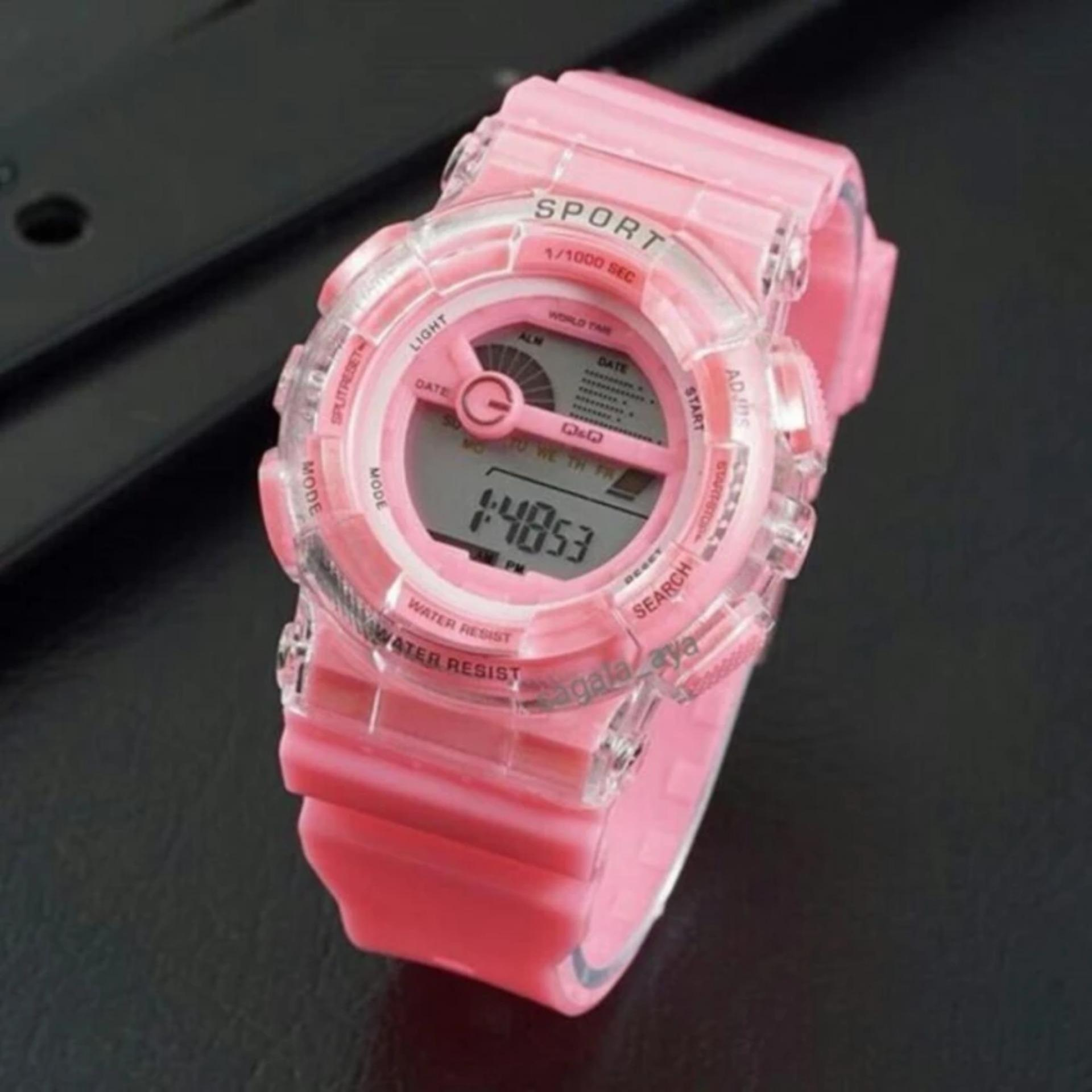 Jam Tangan Fashion Wanita Digital Q&Q Pink007
