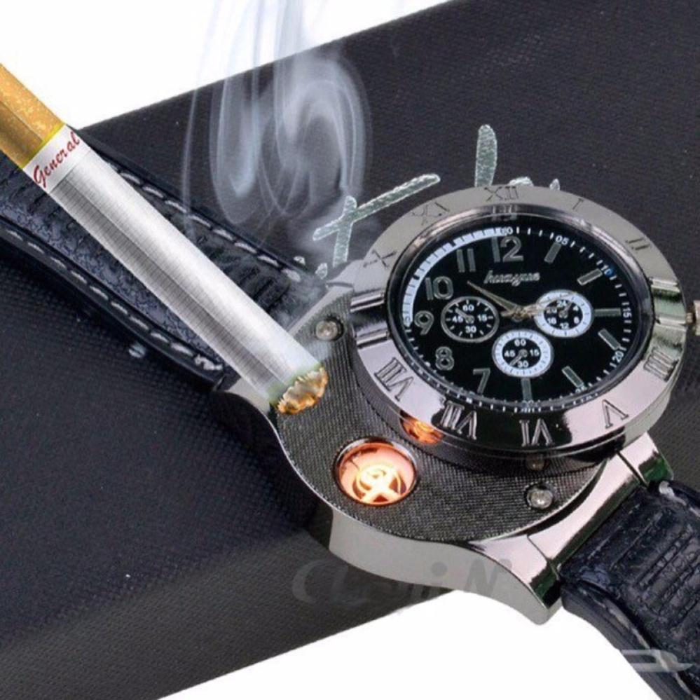 Jam Tangan Mancis Korek Pemantik Api Lighter USB s5844 Hitam