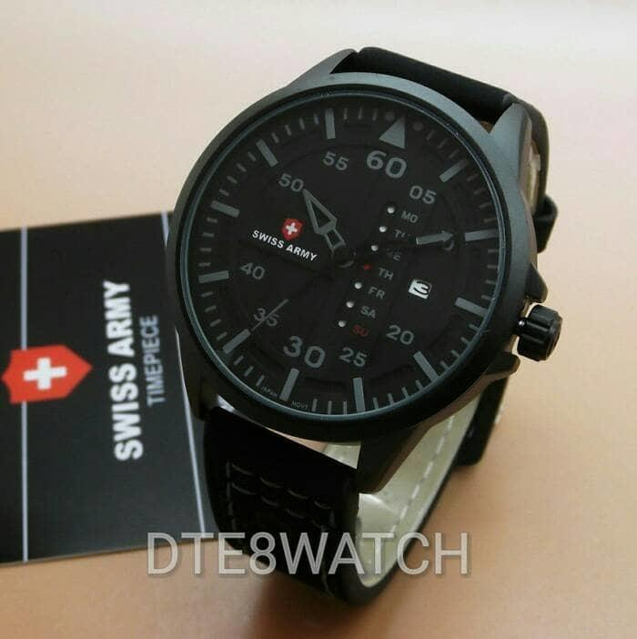 Jam Tangan Pria ORIGINAL Swiss Army 6062M Leather 1 Year Guaranted