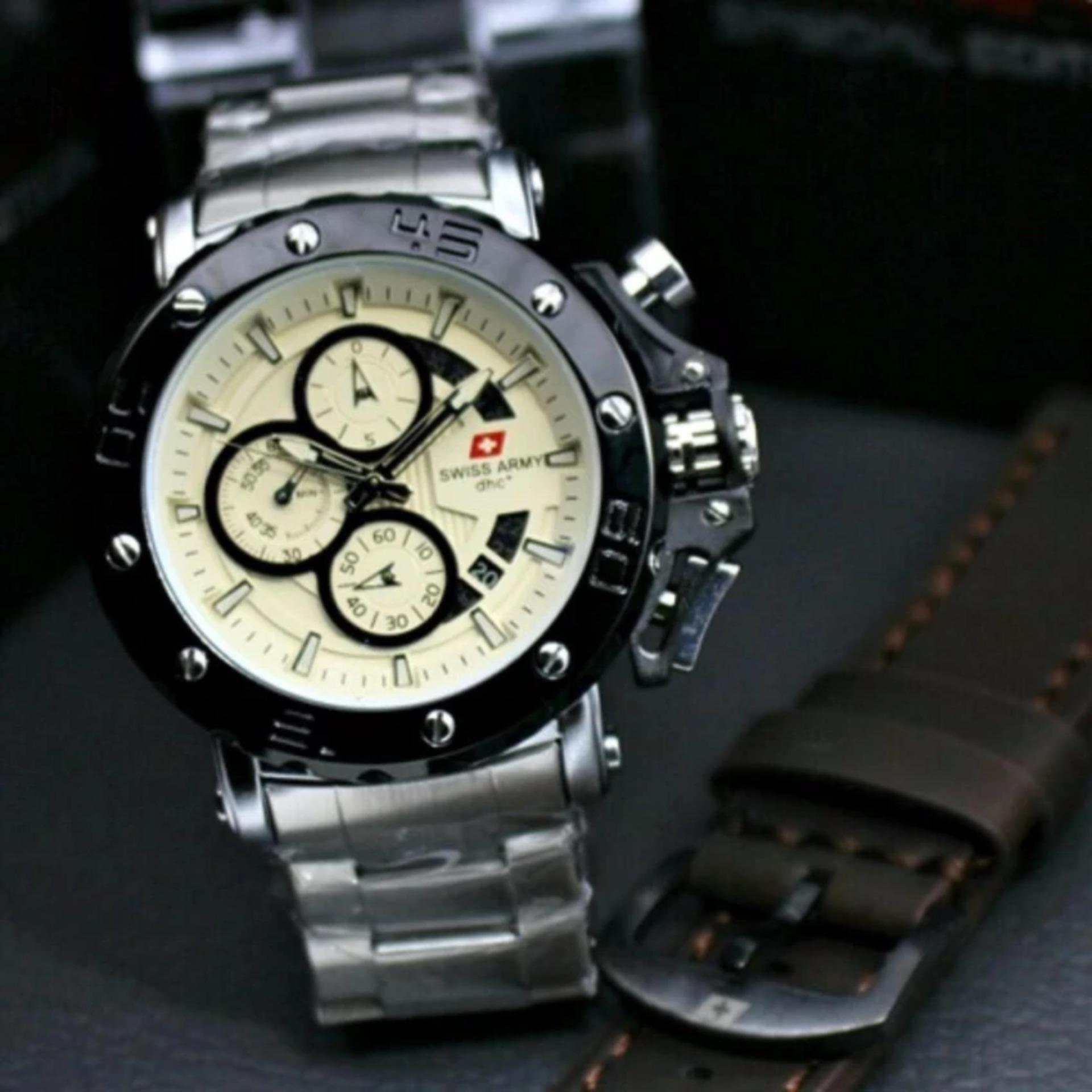 Spesifikasi Jam Tangan Pria Swiss Army Original Crono Aktif Sa678 Strap Rantai Bonus Strap Leather