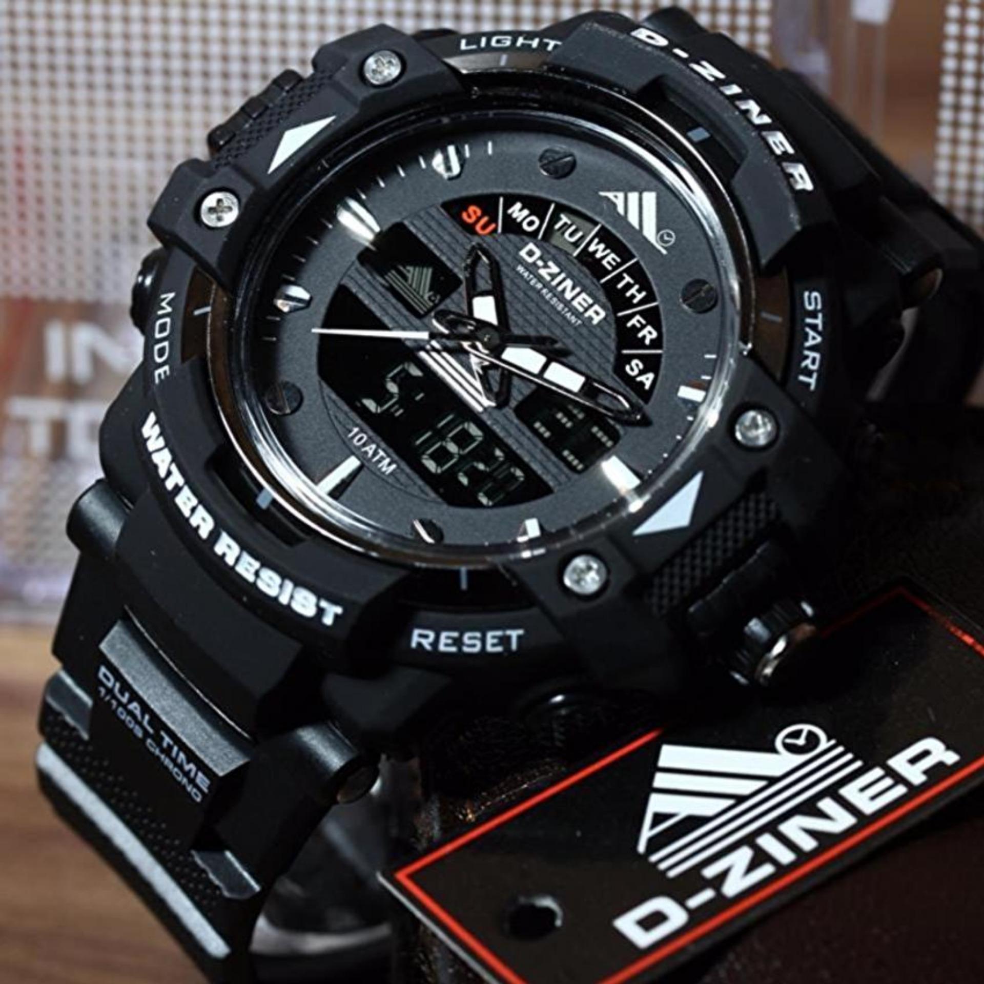 Jam Tangan Sport D-ZINER Dual Time - DZ760-461BW Pria Rubber