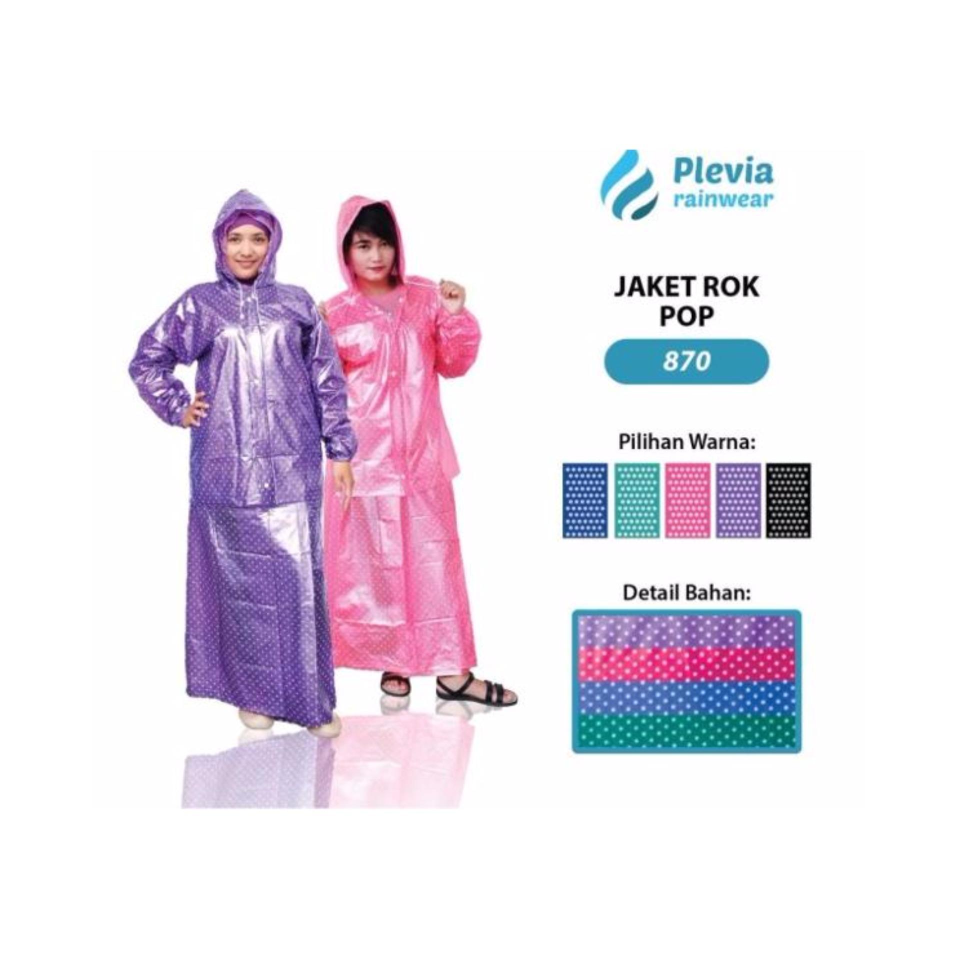 Promo Jas Hujan Jaket Rok Plevia Pop 870 Maroon