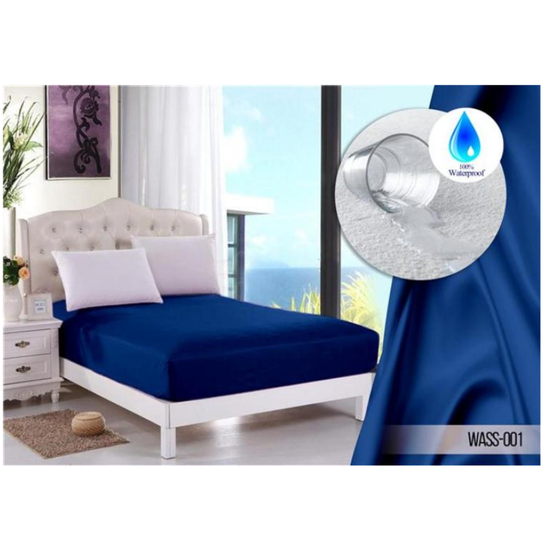 Situs Review Jaxine Sprei Waterproof Anti Air Biru Tua