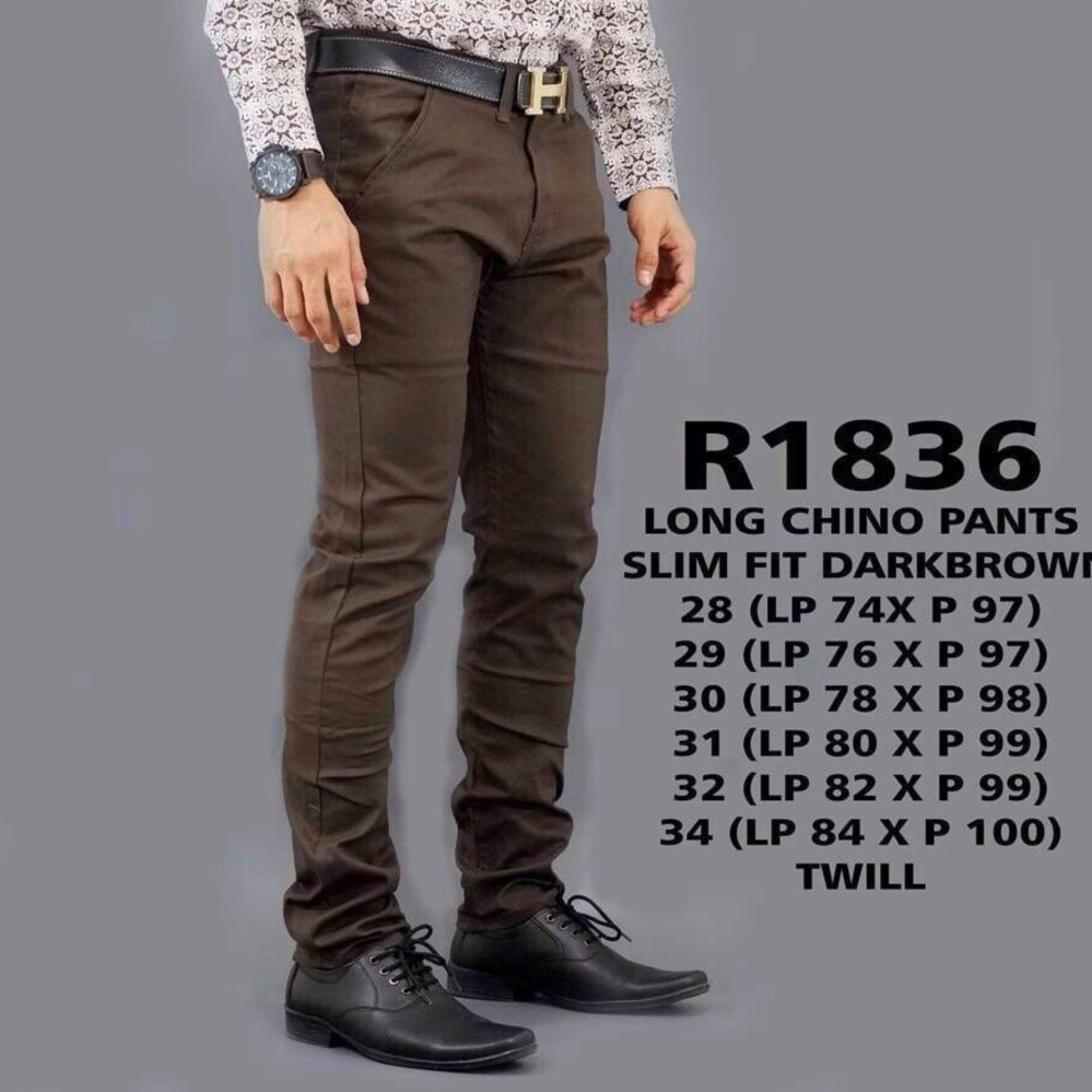 Beli Jayasinar Celana Panjang Chino Pria Slim Fit Darkbrown Chino