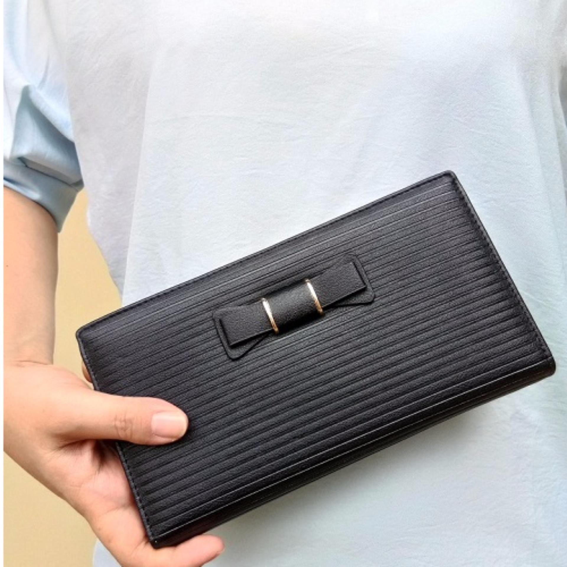 Jcf Multifungsi Dompet Clutch Wanita Fashion Branded Pu Leather Import Alice Black Bagus Dan Mewah High Quality Asli
