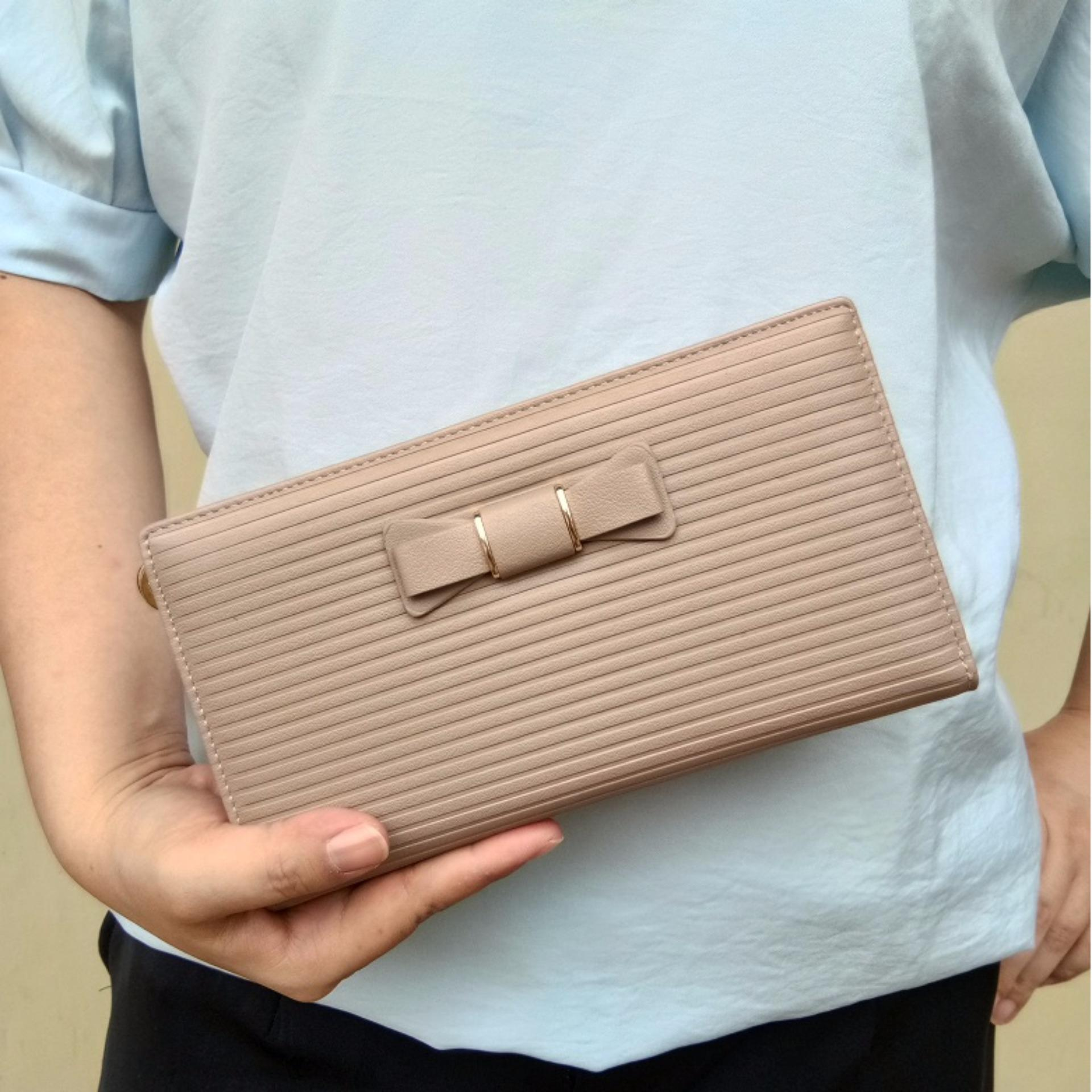 Kualitas Jcf Multifungsi Dompet Clutch Wanita Fashion Branded Pu Leather Import Alice Light Brown Bagus Dan Mewah Jcf