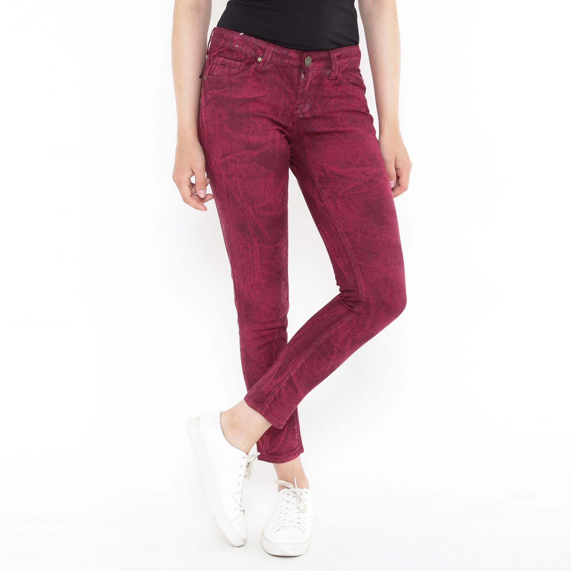 Jeans Slim Fit Motif Red Maroon Mobile Power Ladies C2859S Promo Beli 1 Gratis 1