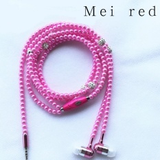 Jewelry Earphone Pearl Necklace In-ear Headphone Fashion Shiny Headset Color:Rose red – intl