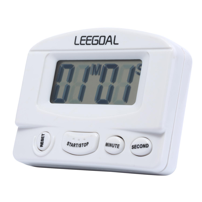 Jiaukon Mini LCD Rumah Dapur Memasak Hitung Mundur Pengatur Waktu Digital Alarm dengan Stand, Putih