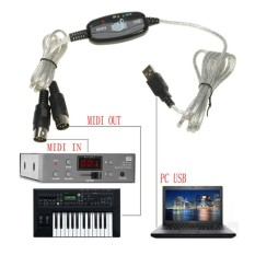 JinGle USB IN-OUT MIDI Interface Cord Converter PC to Music Keyboard Adapter Cable - intl