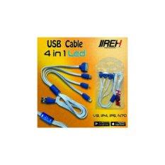 jireh kabel charger  nyala 4 in 1 samsung, ip 4, ip 5, Nokia-putih