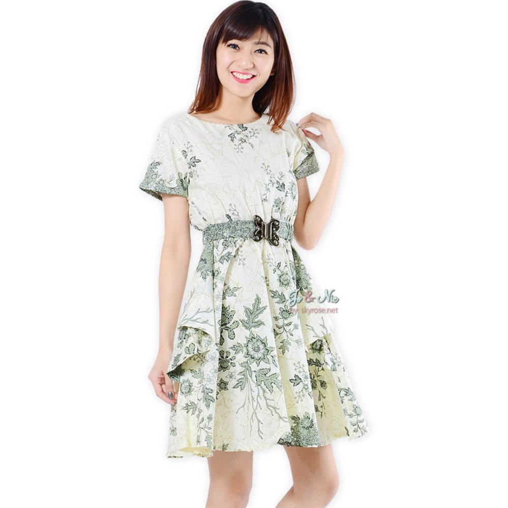 Spesifikasi Jo Nic Dress Batik Peplum Saskia Green Bagus
