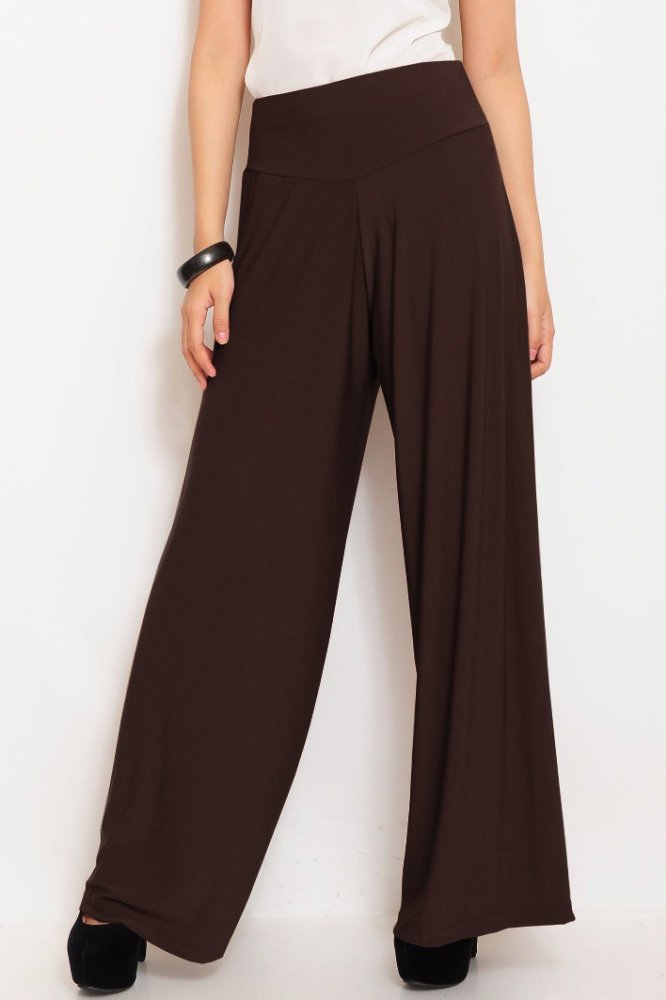 JO & NIC Jersey Wide Pants - Kulot Panjang Wanita - Coklat Tua