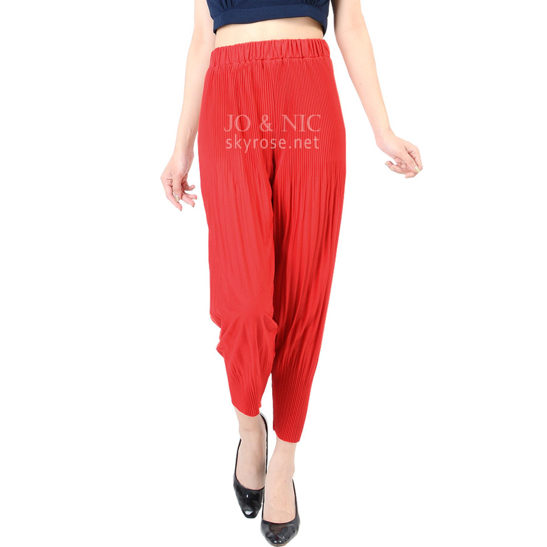 Toko Jo Nic Melissa Pleated Pants Celana Wanita Lipit Allsize Red Jo Nic Di Indonesia