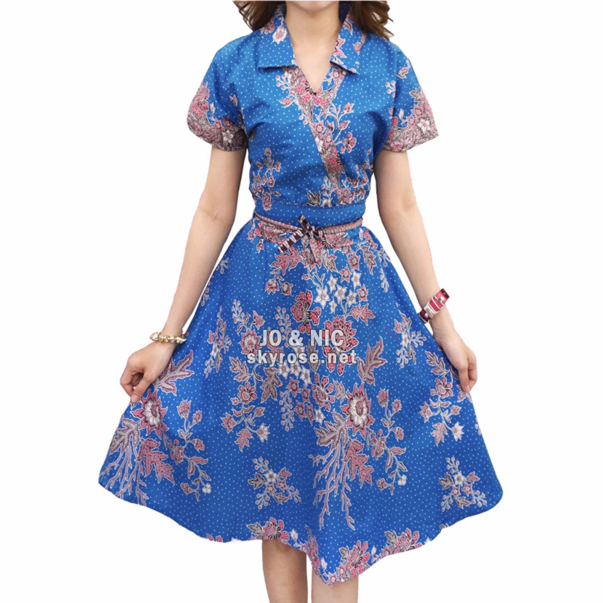 JO & NIC Jasmine Kimono Dress Batik Modern BT502 - Blue