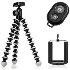 Joby GorillaPod Hybrid Flexible Tripod for Compact Cameras and a Universal Smartphone Mount Adapter w/ Ivation Wireless Bluetooth Camera Shutter Remote Control For iOS, Android and Most Smartphones - intl