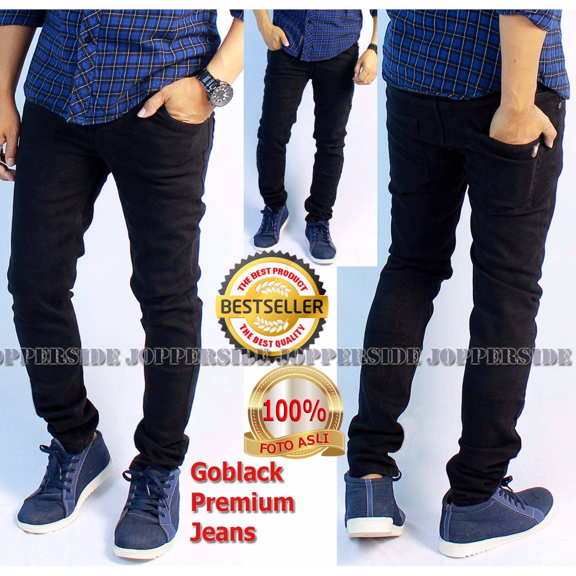 Jual Beli Online Jopperside Goblack Celana Jeans Premium Pria Black Hitam Polos