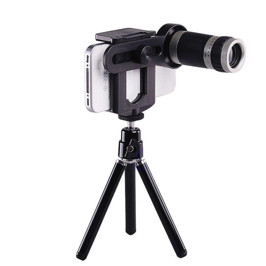 Jual Cepat Jtp Paket Lensa Tele Zoom 8X Holder Tripod Universal For Smartphone Hitam