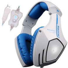 Harga Jts A60 7 1 Pro Usb Stereo Surround Sound Headset Gaming Pc Atas Ikat Kepala Telinga Headphone With Mikrofon Sensitivitas Tinggi Getaran Bass Antibising Serigala Kontrol Volume Logo Berkedip Led Cahaya Led Putih Original