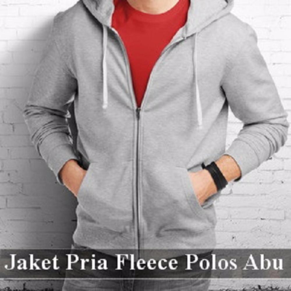 Spesifikasi Jual Jaket Pria Jaket Polos Fleece Sleting Jaket Pria Polos Sleting Fleece Warna Abu Muda Dan Harganya