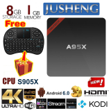 Promo Jusheng Free I8 Wireless Mini Keyboard A95X Android 6 Tv Box 1G 8G Amlogic S905X Quad Core Cpu Kodi 16 Fully Loaded Tv Box 4 K Dual Band Wifi Bluetooth Bt 4 Spdif Tv Stick Streaming Media Player Murah