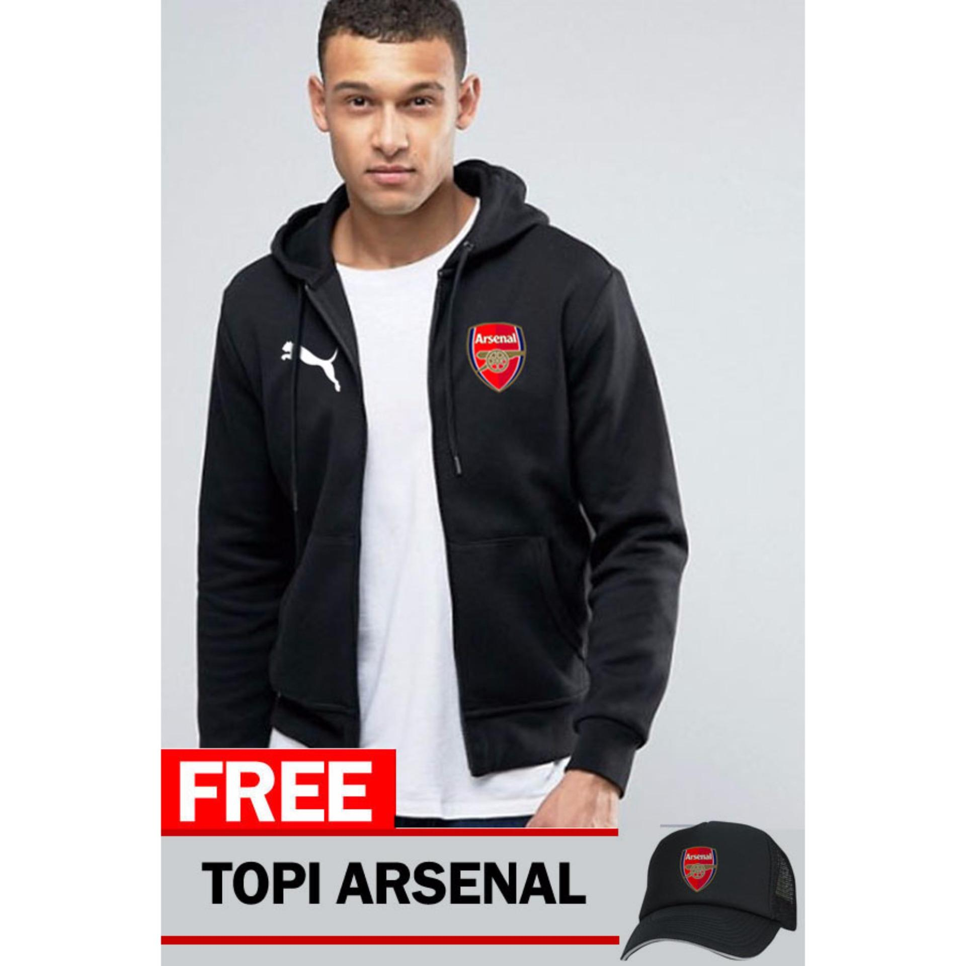 Beli Just Cloth Jaket Zipper Arsenal Free Topi Arsenal Hitam Lengkap