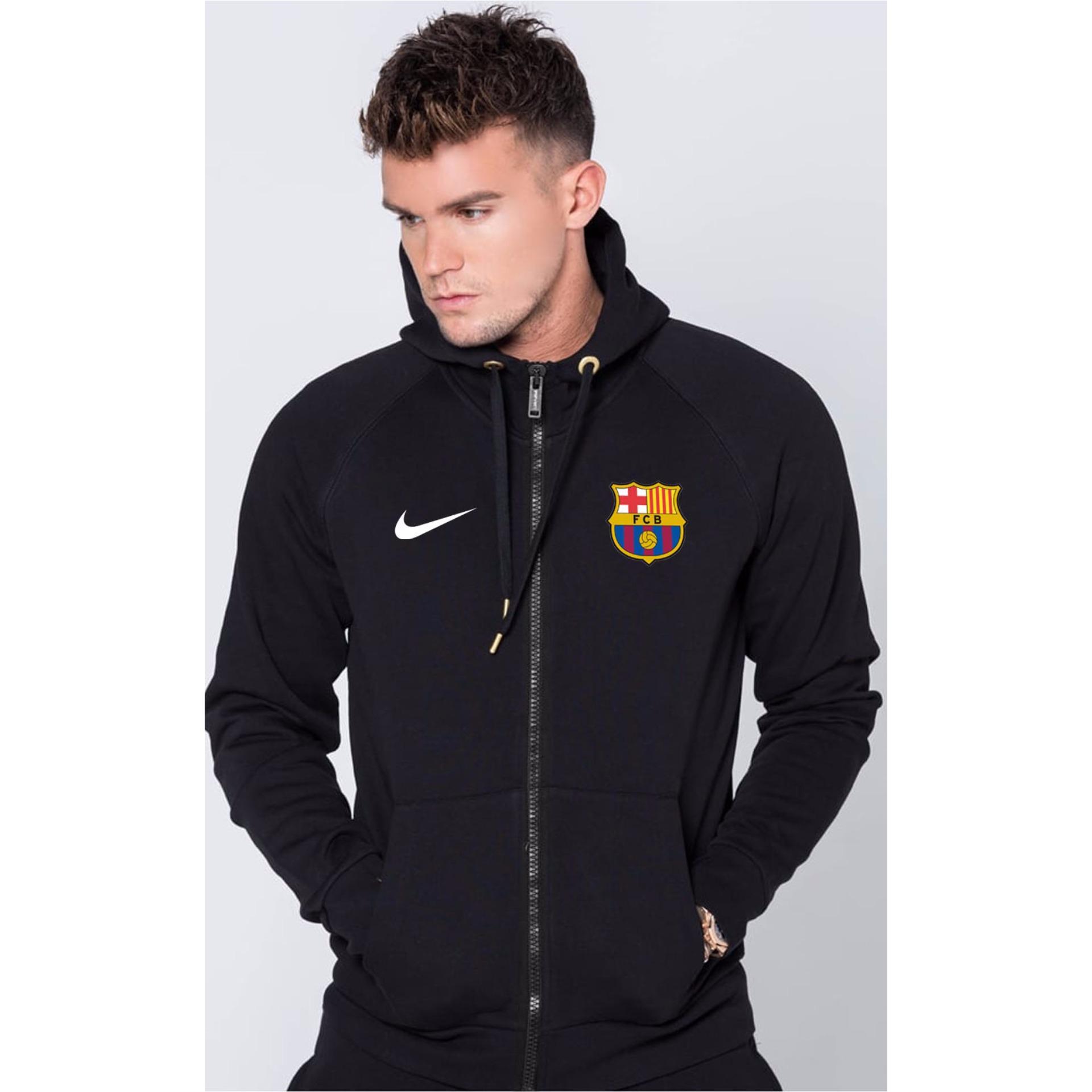 Just Cloth Jaket Zipper Barcelona La Blaugrana Hitam Diskon Akhir Tahun