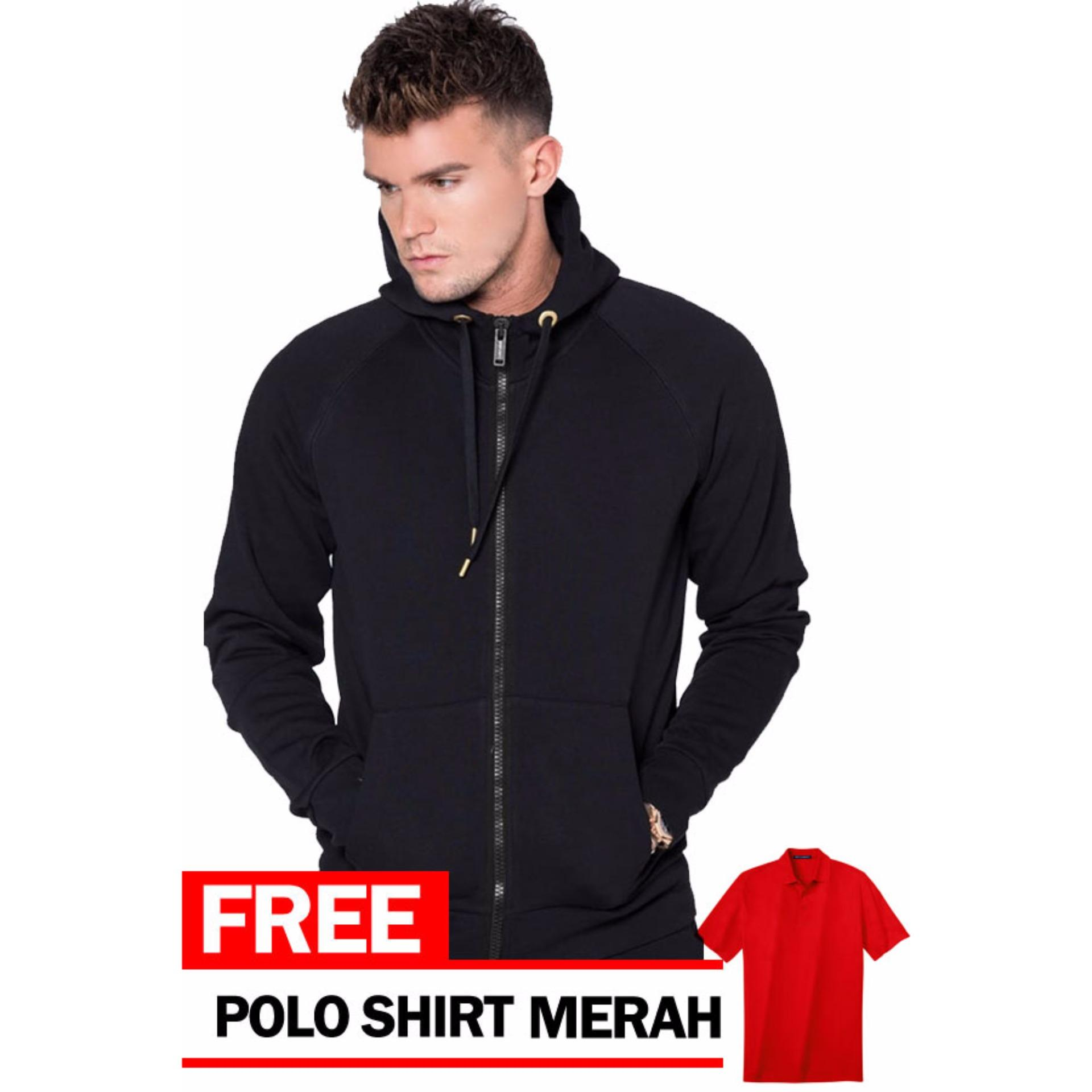 Just Cloth Jaket Zipper Polos Hitam Free Polo Shirt Merah Diskon Banten