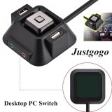 Harga Justgogo Komputer Switch Power Tombol Reset Audio Port Mikrofon Dual Usb Port Yang Murah