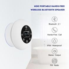 Justgogo Mini Speaker Portabel Bluetooth Nirkabel Radio Fm Bebas Genggam Tahan Air Untuk Kamar Mandi Internasional Terbaru