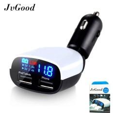 JvGood 2-Port USB Mobil Charger Quick Charge 3.0 Dual Port (Max 3.4A) dengan Tampilan Layar LED dan Tegangan Alarm untuk Semua Perangkat