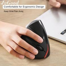 JvGood 2.4G Nirkabel Vertikal Ergonomis Mouse Mouse Optik 800/1200/1600 DPI Komputer Laptop Macbook, HITAM