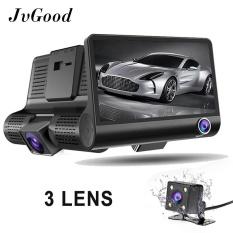 JvGood 3 Lens Car Dash Cam 4 Inch FHD 1080 P Mobil DVR Perekam Video Dashboard Kamera Perekam Dual Lens DASH 3 Channel Cam Front + Inside + Kamera Belakang dengan G-sensor, perekaman Loop, Night Vision