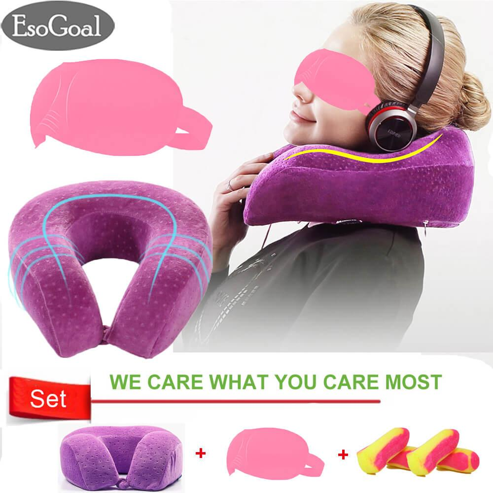 Jvgood Bantal Travel Leher Neck Pillow Dengan 3D Tidur Masker Sleep Eye Mask Terbaru