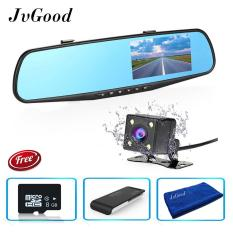 Diskon Jvgood Dual Lens Dash Cam Rear View Mirror Car Camera 4 3 Inch Tft Lcd Screen 1080P Driving Video Recorder With Back Up Camera G Sensor Loop Recording Parking Mode Motion Detection Night Vision 8Gb Tf Card Included Branded