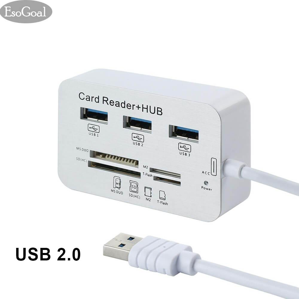 Jual Jvgood Micro Usb 2 Sd Card Reader Universal 3 Port External Multi High Speed Memory Card Reader With Sdhc T Flash Tf Ms Duo M2 Port For Pc Laptop Mac Di Bawah Harga