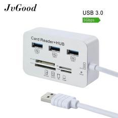 JvGood MICRO USB 3.0 SD Pembaca Kartu Universal 3 Port Eksternal Multi Pembaca Kartu Memori Berkecepatan Tinggi dengan SDHC/ T-Flash/MS DUO/M2 untuk PC Laptop Mac