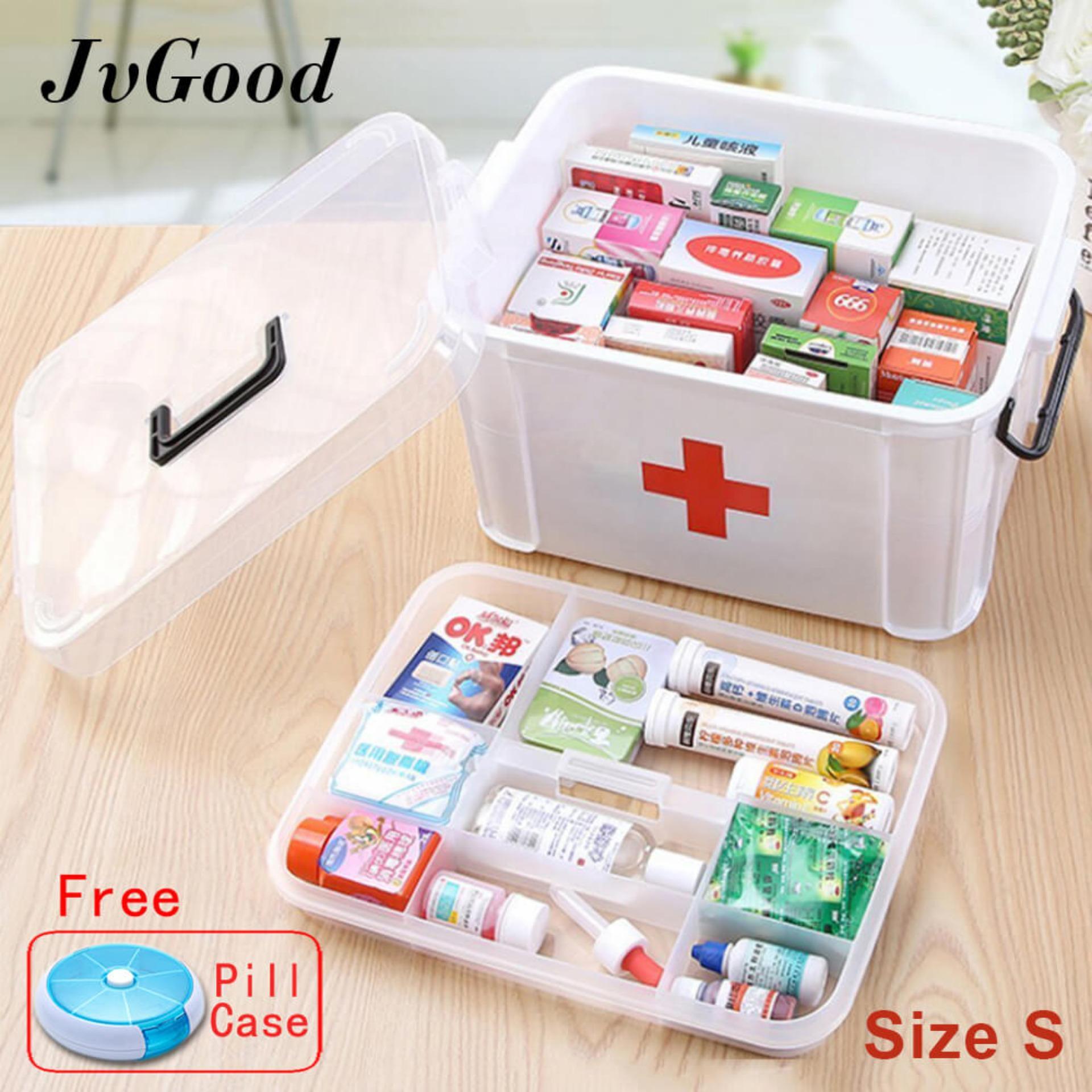 Promo Jvgood Rumah Tangga Medis Kabinet Kotak Kosong First Aid Kit Penyimpanan Plastik Case Pil With Kompartemen Java Me Ukuran S 24 5X17 5X13 5 Cm Jvgood