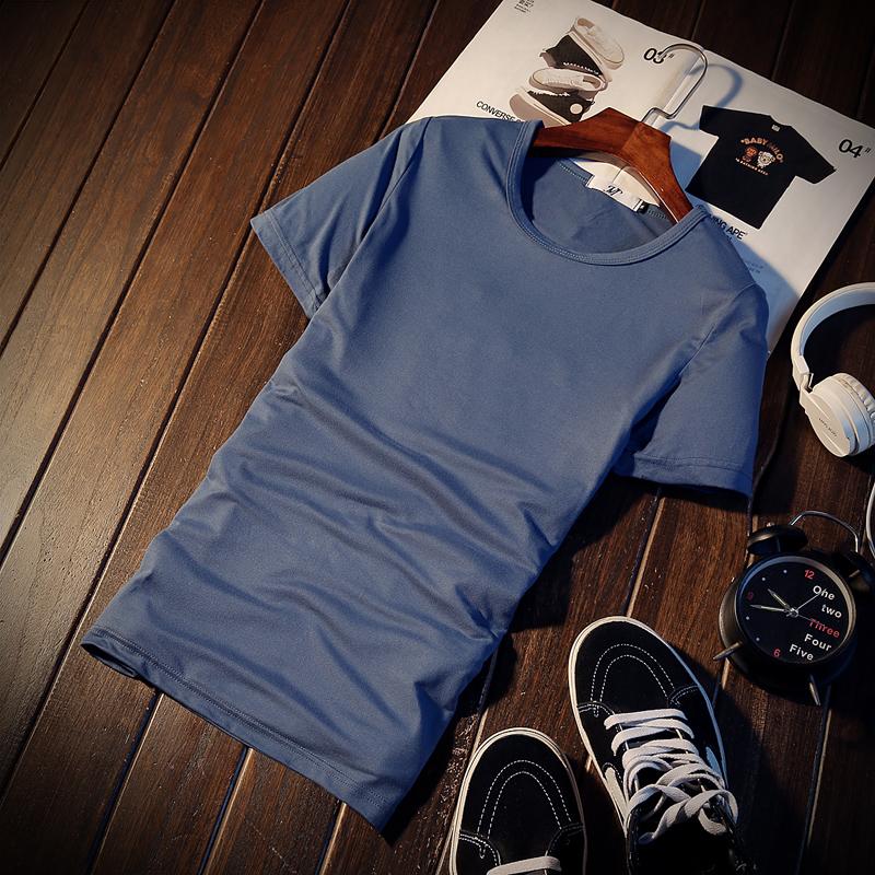 Harga Jvr Kaos Pria Lengan Pendek Bahan Polyester Kerah Bulat Gaya Korea Warna Hitam Putih Leher Bulat Denim Biru Termurah