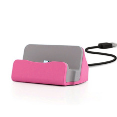 Kabel & Docking Station Charger Cradle Charging Sync Dock For Samsung,LG, HTC, SKY ETC - Pink