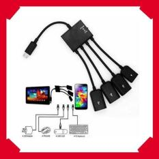 Kabel Data Micro Usb Otg Hub 4 & Charger Adapter For Smartphone & Adapter