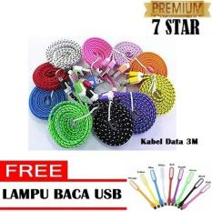 Kabel Data MultiFungsi Charger Micro USB Panjang 3M + Free Lampu LED Mini USB